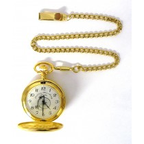 GOLD PLATED POCKET WATCH 47MM + CHAIN