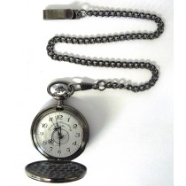 GUNMETAL POCKET WATCH 47MM + CHAIN