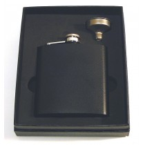 HIP FLASK BLACK GLITTER 6oz Boxed